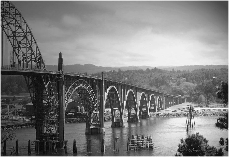 Yaquina Photograph - Yaquina Bay Bridge Oregon B And W by Joyce Dickens