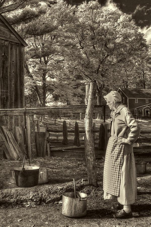 Old Mill Photograph - Yarn Dyeing by Joann Vitali