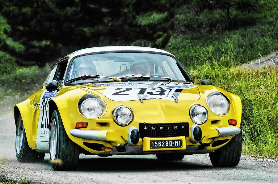 Car Photograph - Yellow Alpine Renault by Alain De Maximy