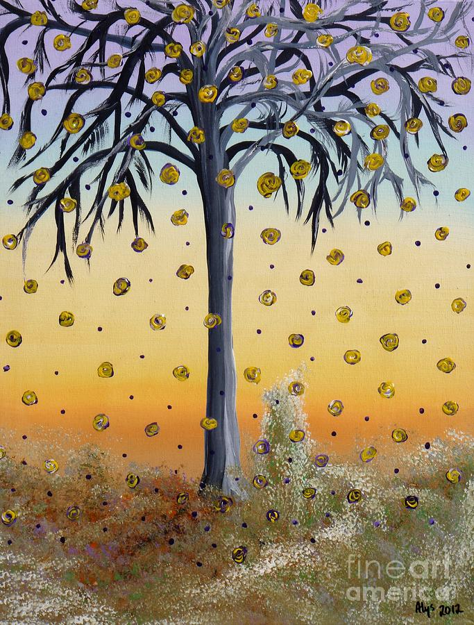 Yellow Roses Painting - Yellow-blossomed Wishing Tree by Alys Caviness-Gober