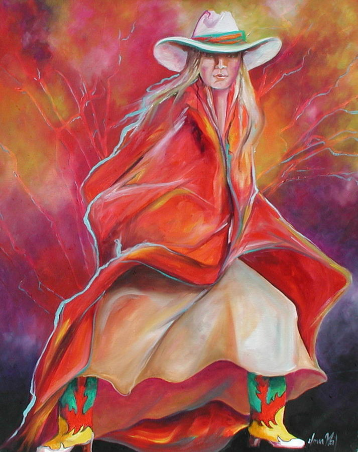 Western Cowgirl Painting - Yellow Boots by Donna Weil