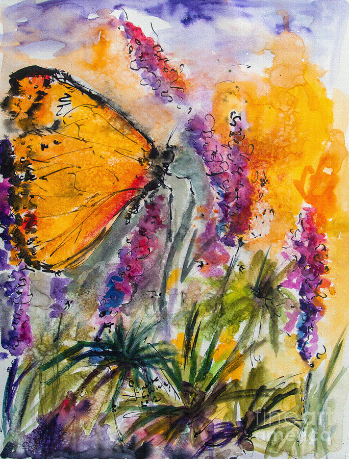 Aquarelle Painting - Yellow Butterfly On Lupines by Ginette Callaway