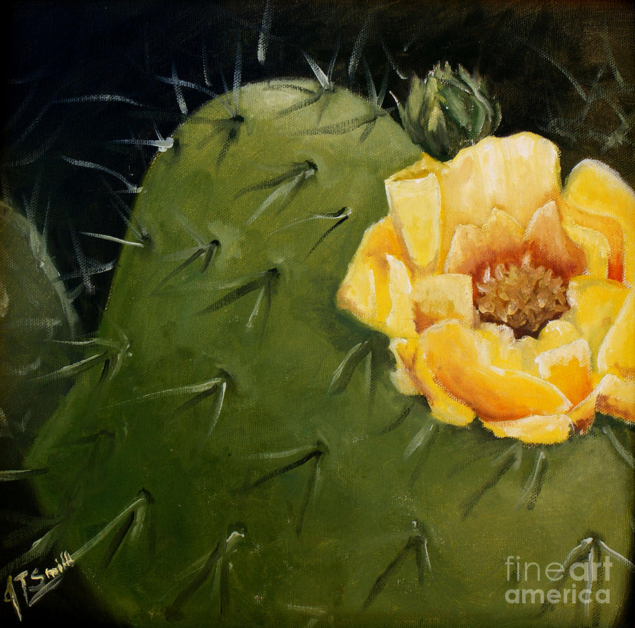 Yellow Cactus Flower Painting By Jean Turner Smith