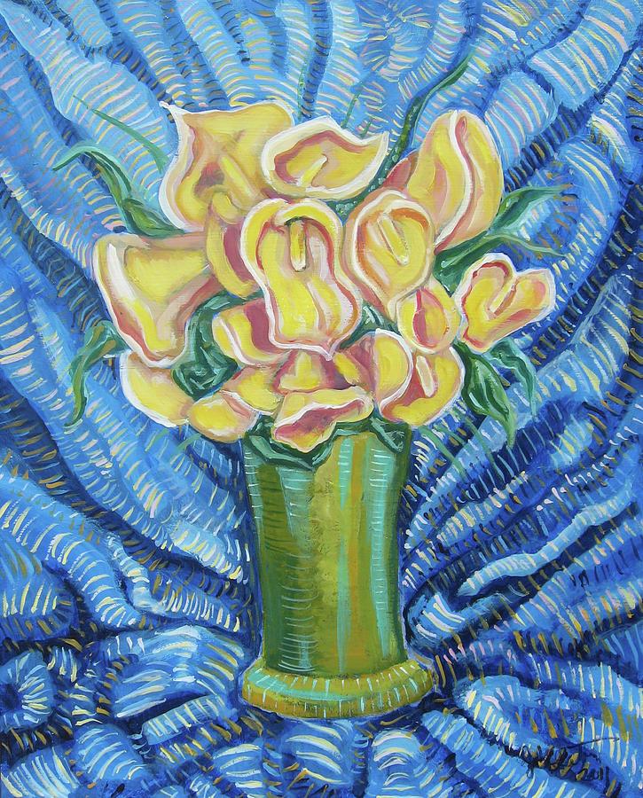 Callas Painting - Yellow Callas by John Keaton