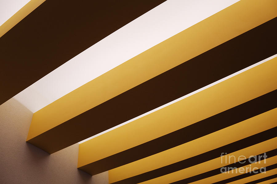 Above Photograph - Yellow Ceiling Beams by Jeremy Woodhouse