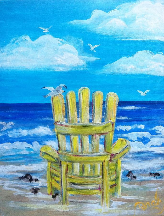 Beach Painting - Yellow Chair by Doralynn Lowe