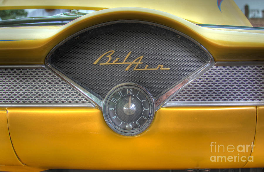 1956 Photograph - Yellow Chevy Bel Air Glove box and Clockface by Lee Dos Santos