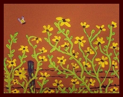 Bee Painting - Yellow Daisies And Bee by Peggy Leyva Conley