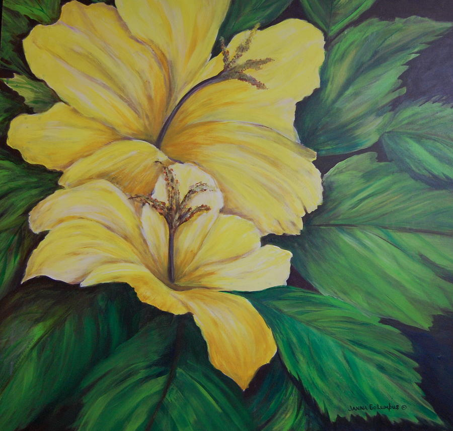 Hibiscus Painting - Yellow Diamonds by Janna Columbus