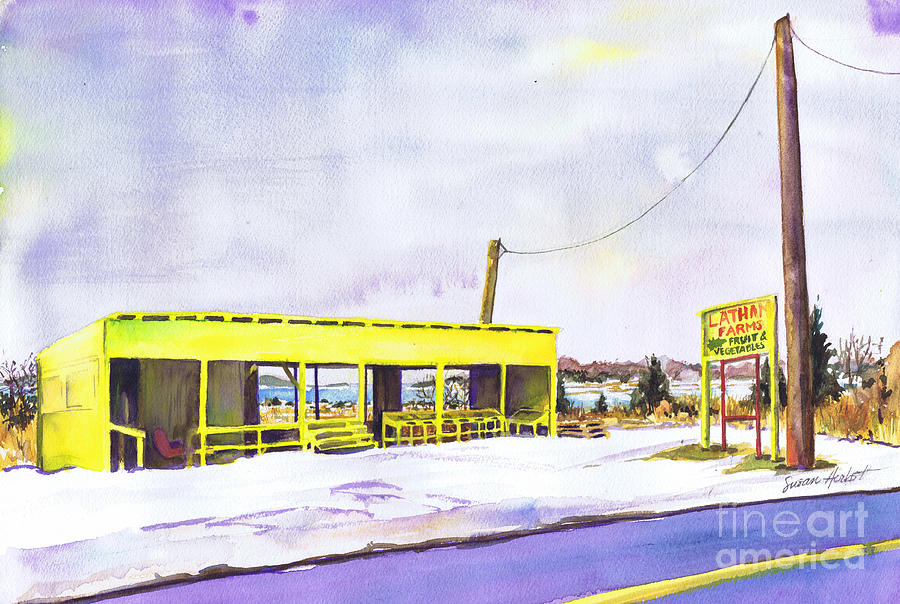 Farm Painting - Yellow Farm Stand Winter Orient Harbor Ny by Susan Herbst