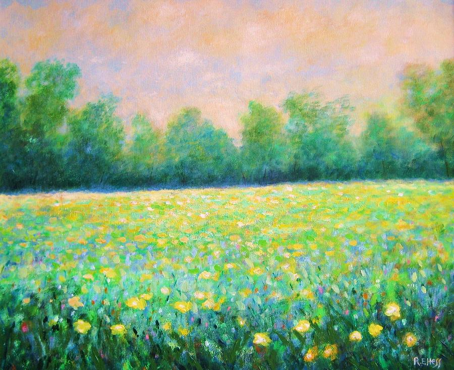 Yellow flower field painting by robert hess mightylinksfo