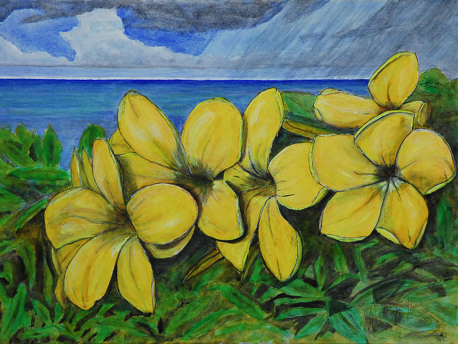 Yellow flowers and rain clouds painting by monte lee thornton mightylinksfo