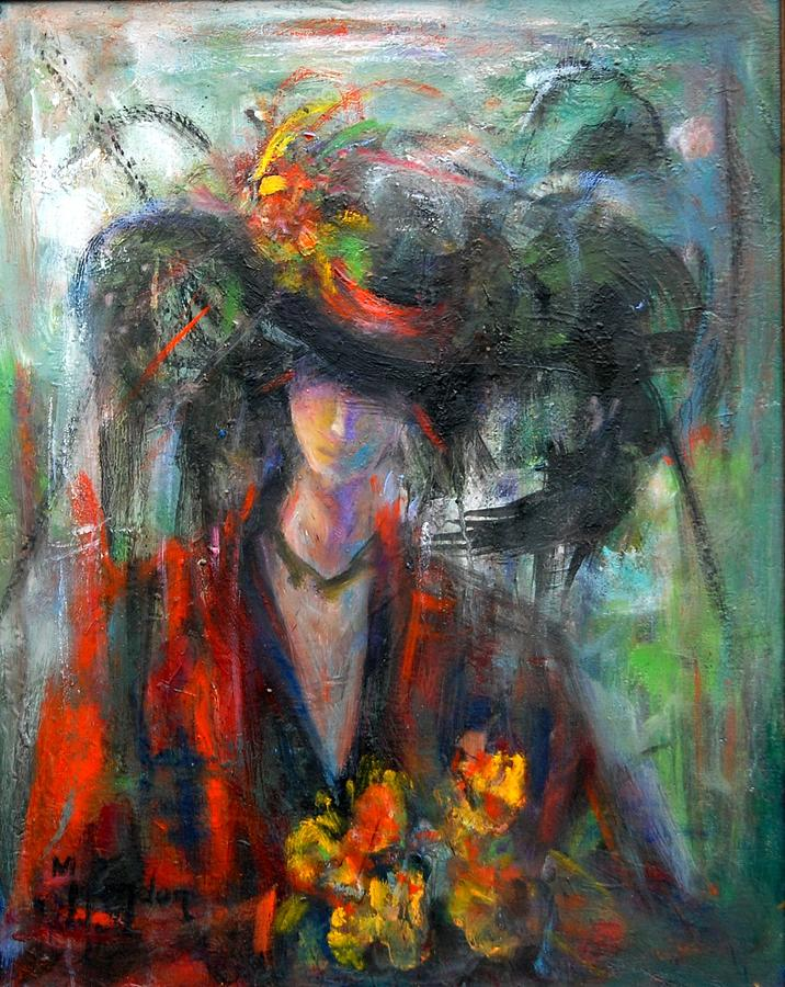 Woman Painting - Yellow Flowers  by Marina R Burch