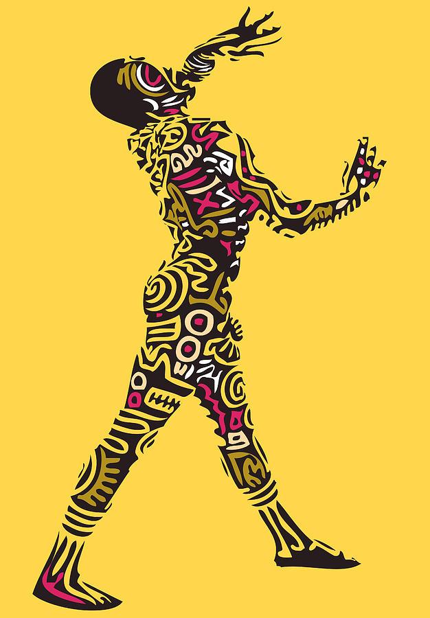 Haring Digital Art - Yellow Haring by Kamoni Khem