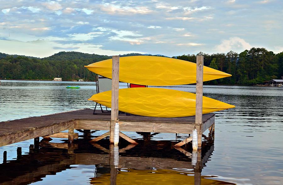 Lake Photograph - Yellow Kayaks by Susan Leggett
