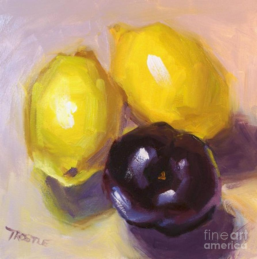 Yellow Lemons And Plum Print Painting by Patti Trostle