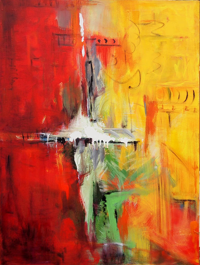 Abstract Painting - Yellow by Marina R Burch