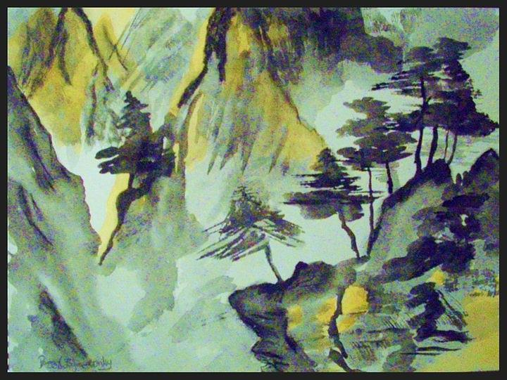Watercolors Painting - Yellow Orient Mountains by Peggy Leyva Conley