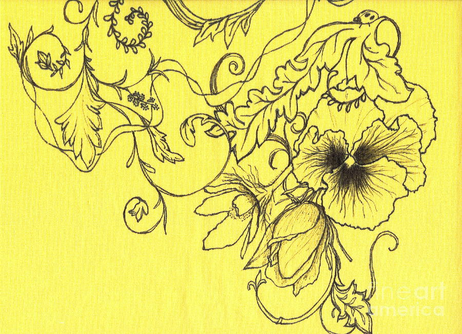 yellow pansy and ladybug drawing by denise hoag