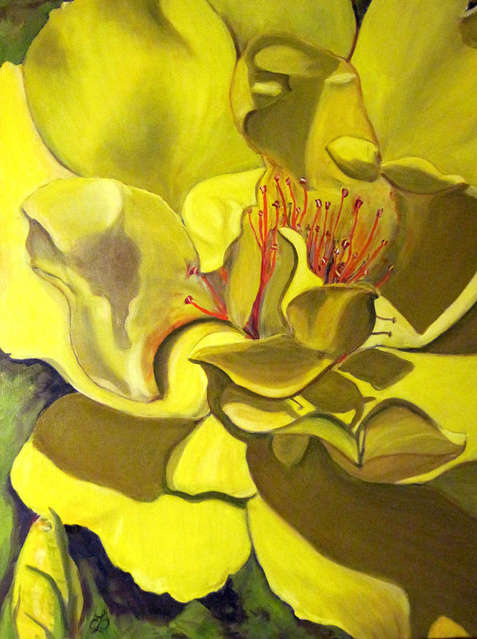 Yellow Rose Painting - Yellow Rose For Bette by Claudia Croneberger