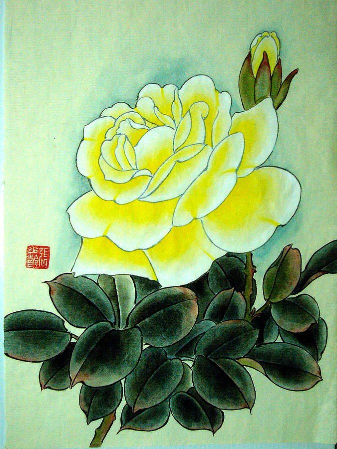 Yellow rose in rough calligraphy style painting by sl c
