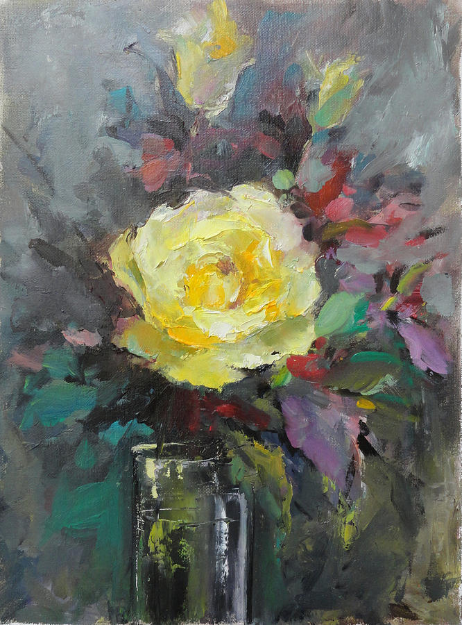 Painting Painting - Yellow Rose by Nelya Shenklyarska