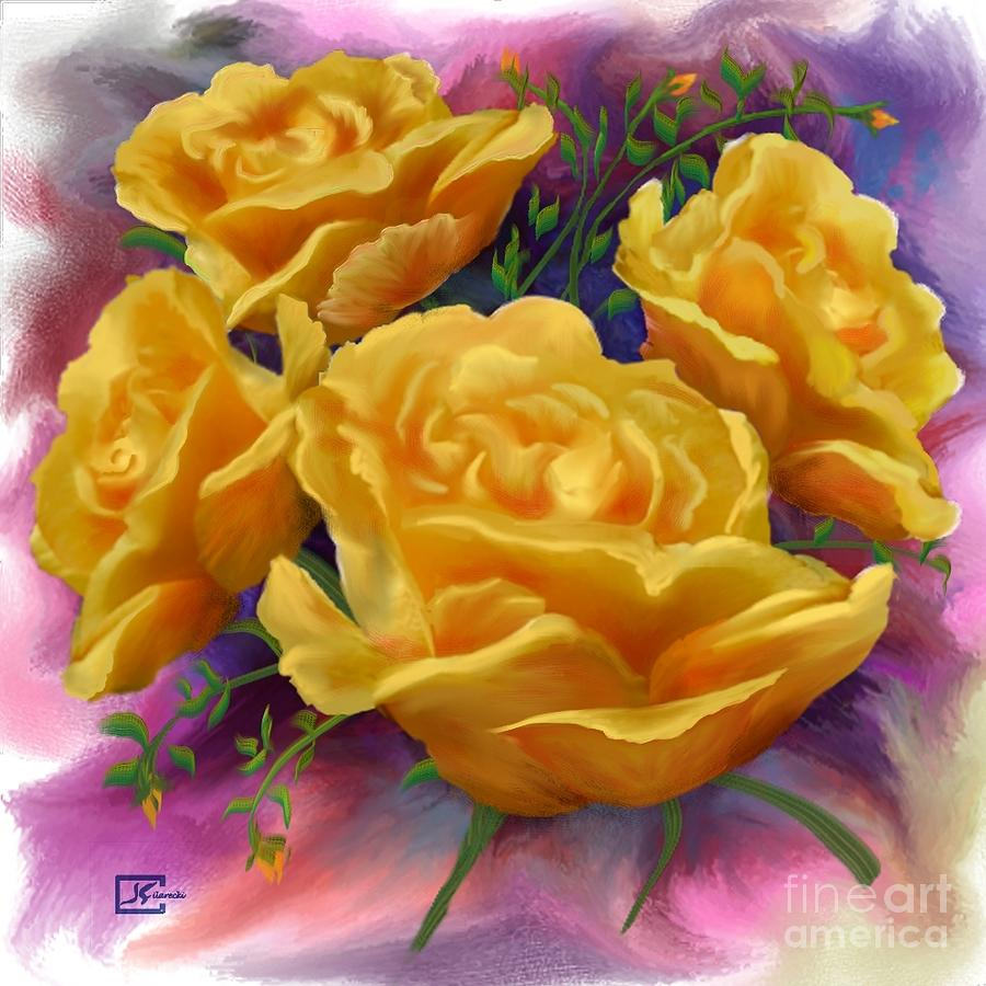 Yellow Roses Painting - Yellow Roses Floral Art by Judy Filarecki