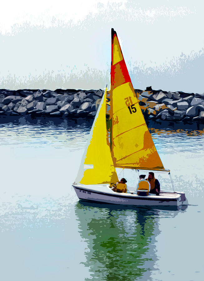 Yellow Sailboat At The Jetty Painting by Elaine Plesser