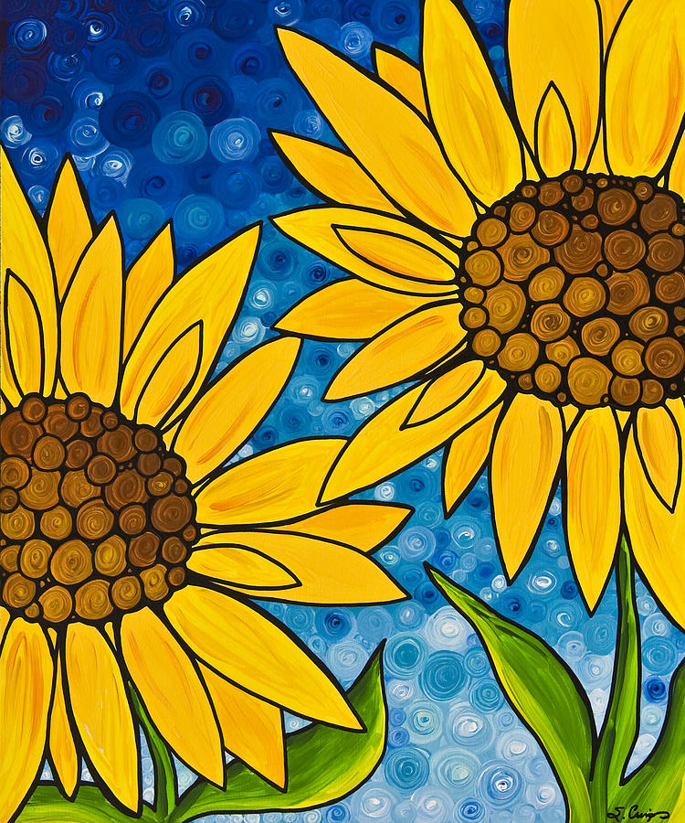 Sunflower Painting - Yellow Sunflowers by Sharon Cummings