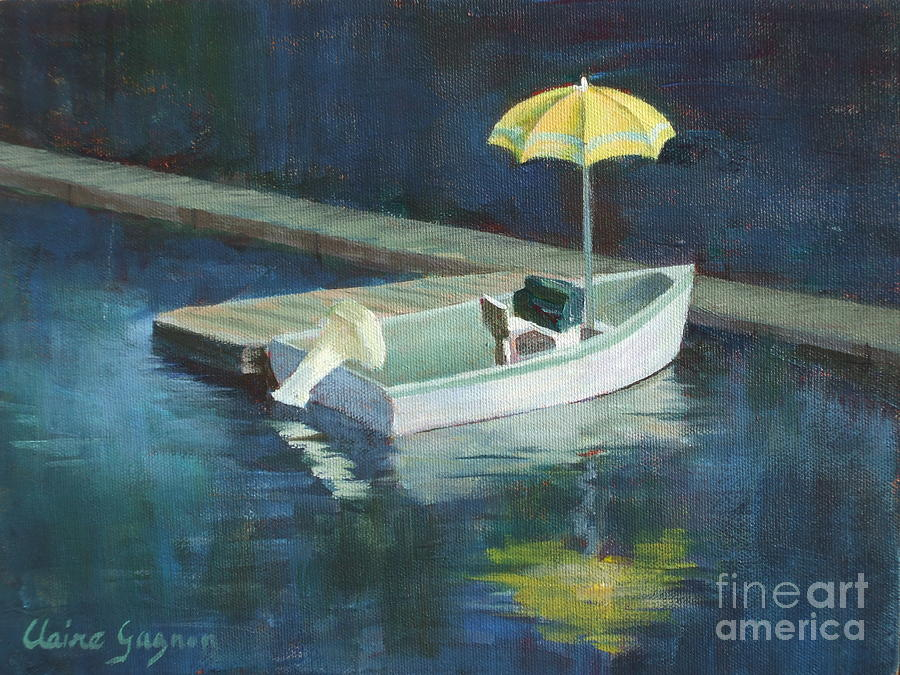 Outdoors Painting - Yellow Umbrella by Claire Gagnon