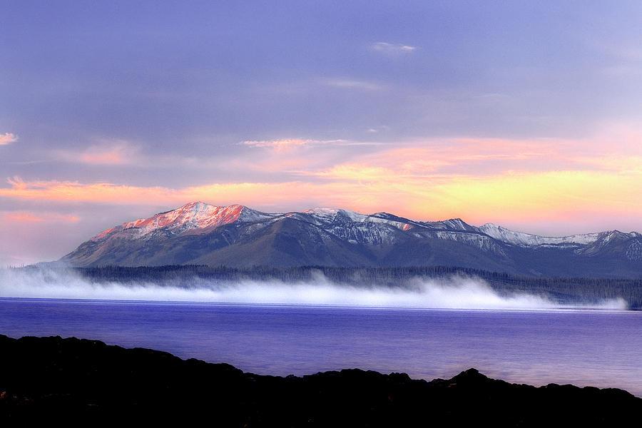 Yellowstone National Park Photograph - Yellowstone Lake Sunrise by Tony Gayhart