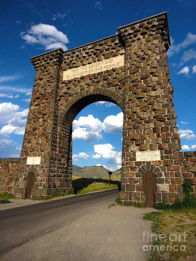 Yellowstone Painting - Yellowstone National Park Gate by Gregory Dyer