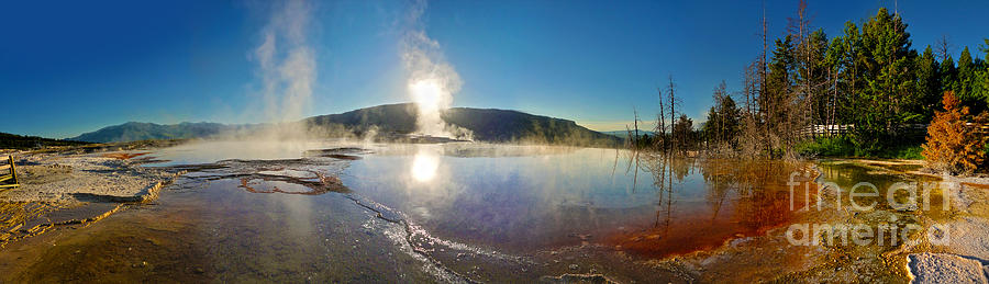 Yellowstone Photograph - Yellowstone National Park - Minerva Terrace - Panorama by Gregory Dyer
