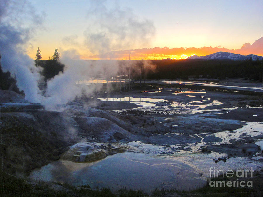 Yellowstone Photograph - Yellowstone Norris Geyser Basin At Sunset - 03 by Gregory Dyer