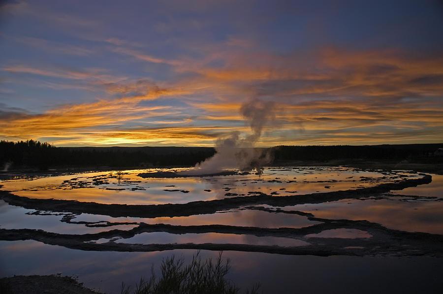 Sunset Photograph - Yellowstones Fountain Geyser by Geraldine Alexander