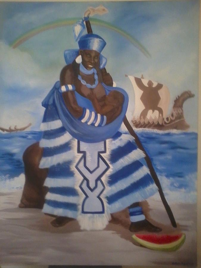 This 6 Foot Tall Painting Is Very Sacred And Is An Image Of The Blessed Yemaya - Mother Of The Ocean From West Africa.  Painting - Yemaya - Mother Of The Ocean by Sula janet Evans