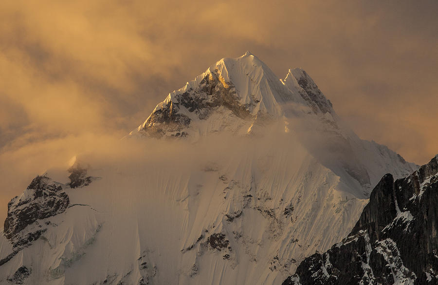 Andes Mountains Photograph - Yerupaja Summit Ridge 6617m At Sunset by Colin Monteath