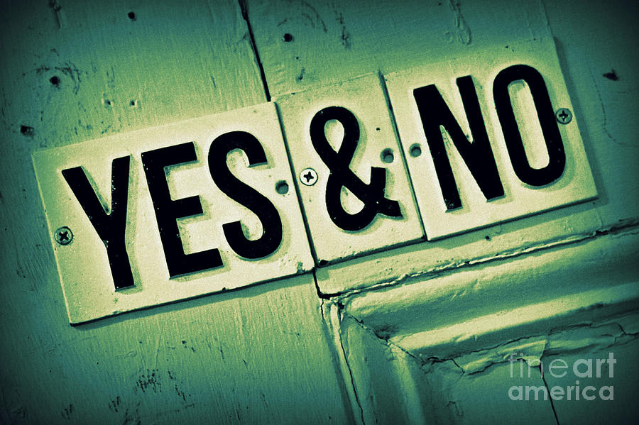 Sign Photograph - Yes And No 2 by Perry Webster