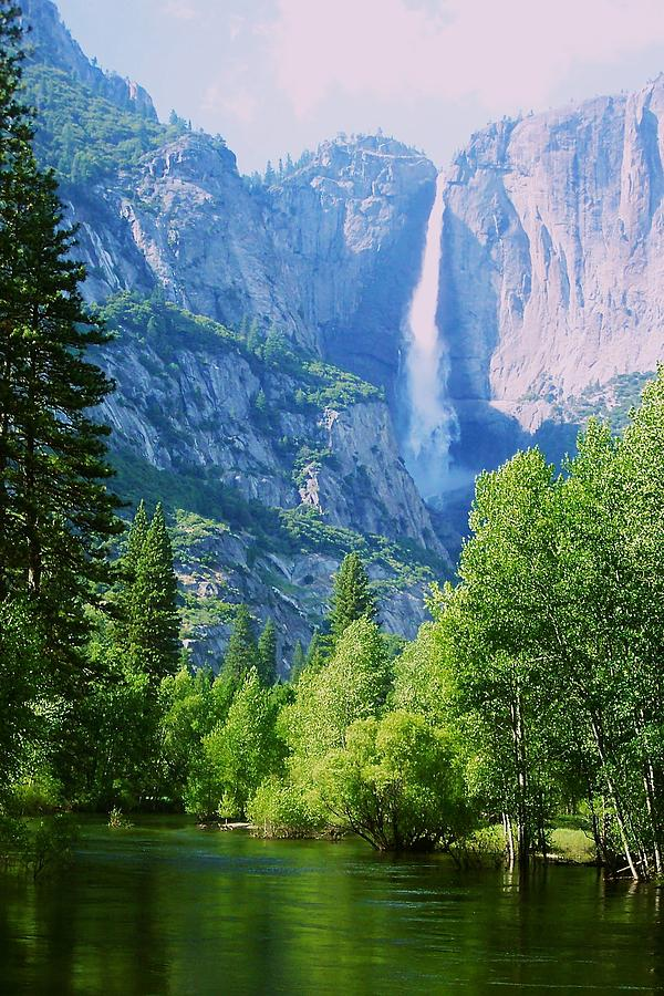 Merced River Photograph - Yosemite Falls And Merced River by Eric Tressler