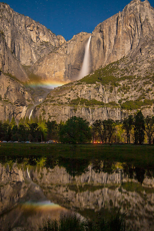 Landscape Photograph - Yosemite Falls Moonbow Reflection by Marc Crumpler