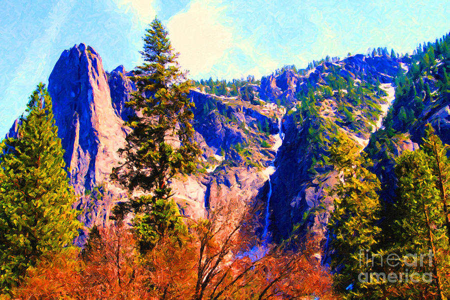 Landscape Photograph - Yosemite In The Fall . 7d6287 by Wingsdomain Art and Photography