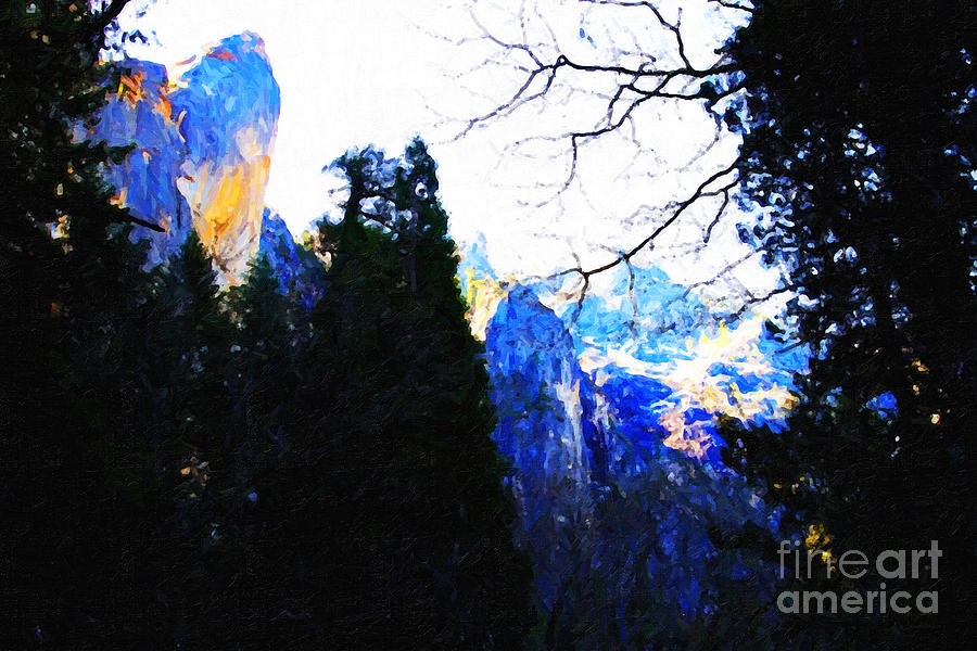 Landscape Photograph - Yosemite Snow Top Mountains by Wingsdomain Art and Photography