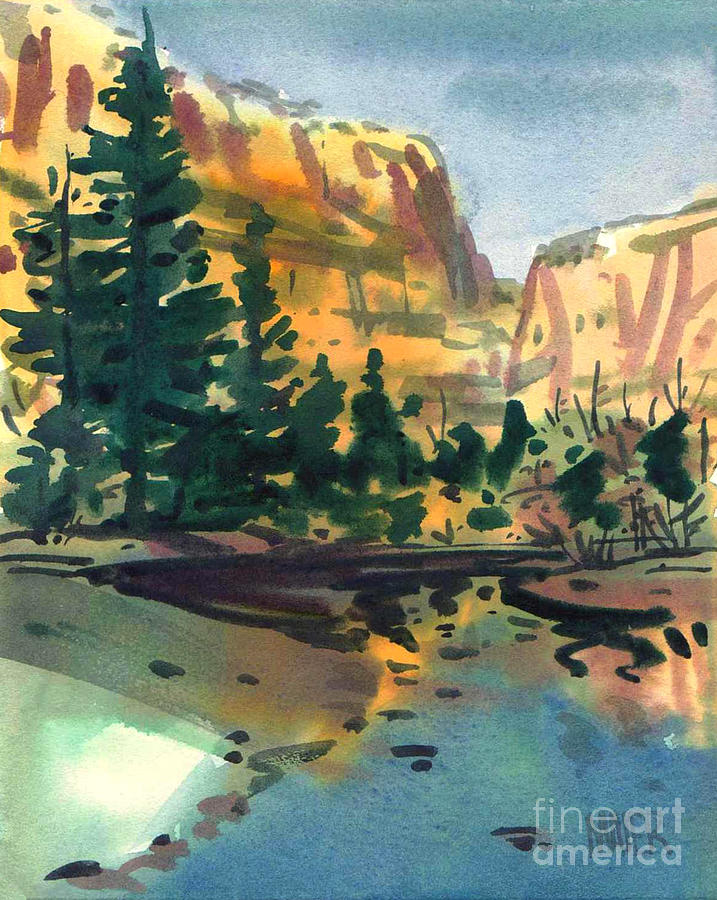 Watercolor Painting - Yosemite Valley In January by Donald Maier