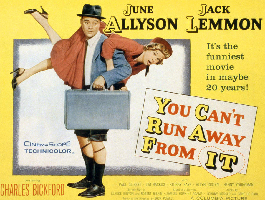 1956 Movies Photograph - You Cant Run Away From It, Jack Lemmon by Everett