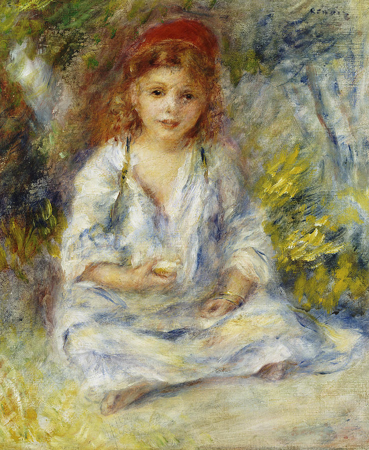 Girl Painting - Young Algerian Girl by Pierre Auguste Renoir