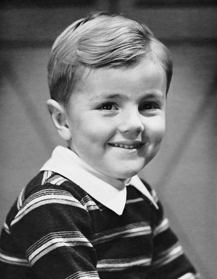 Child Photograph - Young Boy Smiling by George Marks