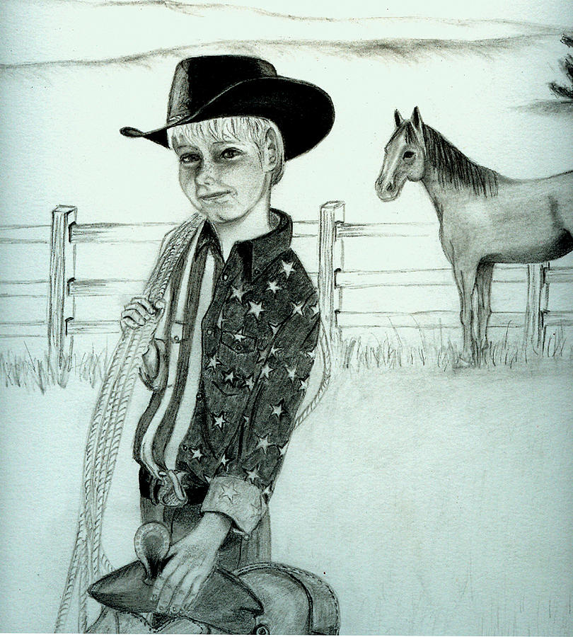 Young Cowboy Drawing by Carolyn Ardolino