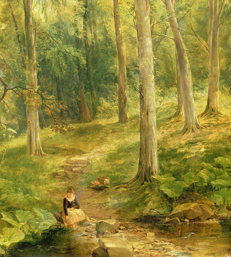 Thomas Creswick Painting - Young Girl Bathing Her Feet by Thomas Creswick