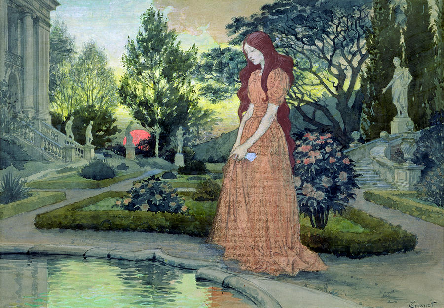 Eugene Grasset Painting   Young Girl In A Garden By Eugene Grasset