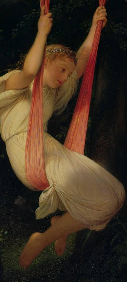 1845 Painting - Young Girl On A Swing by Hippolyte Delaroche